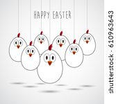 funny easter eggs with a rope... | Shutterstock .eps vector #610963643