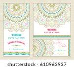 wedding invitation cards... | Shutterstock .eps vector #610963937