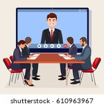 video conference. business... | Shutterstock .eps vector #610963967