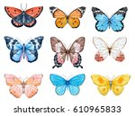 set of beautiful watercolor... | Shutterstock . vector #610965833