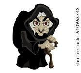 old witch in black cloak ... | Shutterstock .eps vector #610968743