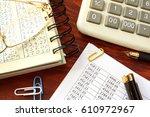 accountability concept. ledger... | Shutterstock . vector #610972967