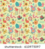 seamless pattern with cute bugs | Shutterstock .eps vector #610975097