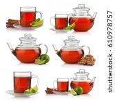 set of tea cups and teapots... | Shutterstock . vector #610978757