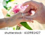 tropical beach wedding ceremony | Shutterstock . vector #610981427