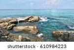 sea stones at surin beach... | Shutterstock . vector #610984223