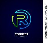 letter r logo  circle shape... | Shutterstock .eps vector #610992107
