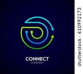 letter o logo  circle shape... | Shutterstock .eps vector #610992173