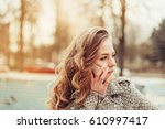 close up portrait of a young... | Shutterstock . vector #610997417