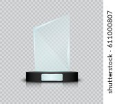 glass trophy award. vector... | Shutterstock .eps vector #611000807