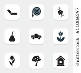 set of 9 editable plant icons.... | Shutterstock .eps vector #611006297