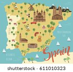 illustration map of spain with... | Shutterstock .eps vector #611010323