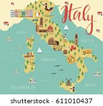 illustration map of italy with...