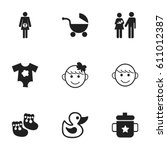 set of 9 editable kid icons.... | Shutterstock .eps vector #611012387