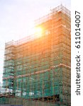 construction scaffolding and... | Shutterstock . vector #611014007