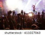 crowd at concert   summer music ... | Shutterstock . vector #611027063