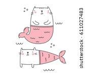 Stock vector cat mermaid 611027483