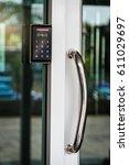 door access control keypad with ... | Shutterstock . vector #611029697