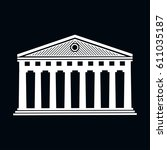 parthenon icon vector... | Shutterstock .eps vector #611035187