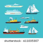 Set Of Ships In Modern Flat...