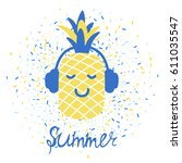 vector summer greeting card... | Shutterstock .eps vector #611035547