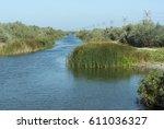 canal in danube delta near... | Shutterstock . vector #611036327