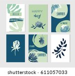 set of artistic creative summer ... | Shutterstock .eps vector #611057033