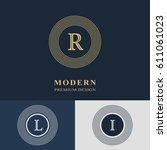 modern logo design. geometric... | Shutterstock .eps vector #611061023
