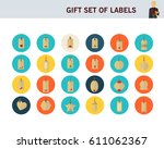 gift set of labels concept flat ... | Shutterstock .eps vector #611062367