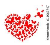 red heart isolated  valentine... | Shutterstock .eps vector #611063747