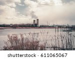 power plant energy silos....   Shutterstock . vector #611065067