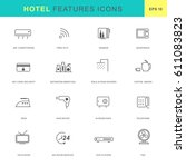 hotel features icon set.thin... | Shutterstock .eps vector #611083823