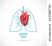 heart and lungs  medical symbol. | Shutterstock .eps vector #611088743