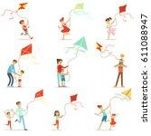 happy kids running with kite....   Shutterstock .eps vector #611088947