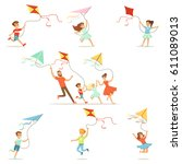 kids and their parents running...   Shutterstock .eps vector #611089013