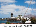 Small photo of PLAYA BLANCA, LANZAROTE - MARCH 14. Rubicon Marina in Playa Blanca, Lanzarote, Canary Islands on March 14, 2017, selective focus