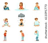 children negative emotions ... | Shutterstock .eps vector #611091773