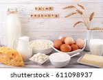 dairy products on wooden table. ... | Shutterstock . vector #611098937
