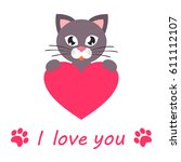 lovely cat with heart and text | Shutterstock .eps vector #611112107
