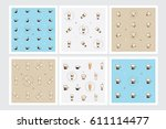 coffee patterns set with... | Shutterstock .eps vector #611114477
