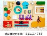 handmade busy board for baby... | Shutterstock . vector #611114753