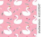swan lake seamless pattern  ... | Shutterstock .eps vector #611119247