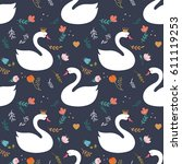 swan lake seamless pattern  ... | Shutterstock .eps vector #611119253