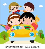 happy family in car on vacation | Shutterstock .eps vector #61113076