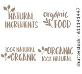 organic natural product labels... | Shutterstock .eps vector #611141447