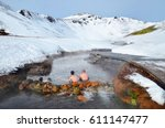 people sitting in hot river in... | Shutterstock . vector #611147477