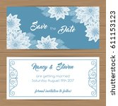save the date card or wedding...   Shutterstock .eps vector #611153123