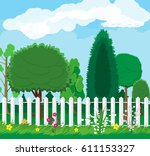 summer nature landscape with... | Shutterstock . vector #611153327