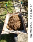 Small photo of Old wheelbarrow with wooden swarf, wooden dust
