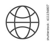 globe thin line vector icon.... | Shutterstock .eps vector #611156807